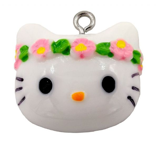Acrylic Flower White Kitty Charm 23mm x 20mm